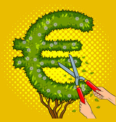 bush in the form of euro sign pop art vector image vector image