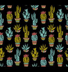 Cactus hand-drawn seamless pattern grunge vector