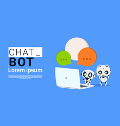 Chat bot robots using laptop computer and hold vector