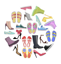 collection of shoes in round frame banner isolated vector image vector image