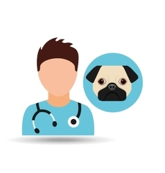 doctor cartoon veterinarian dog pug vector image