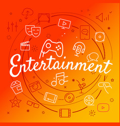 entertainment concept different thin line icons vector image
