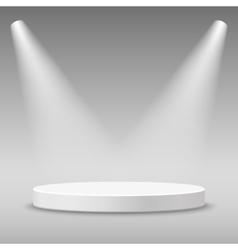Illuminated round stage podium vector image vector image