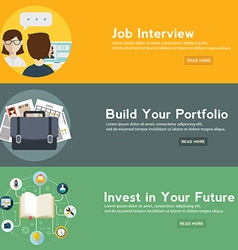 Job interview portfolio and future investment web vector image