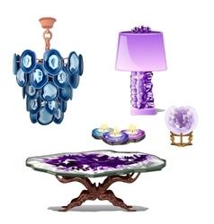 Luxury furniture interior decor of amethyst vector
