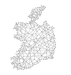 Map of ireland from polygonal black lines and dots vector