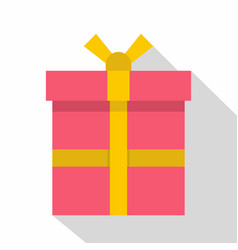 Pink gift box with a yellow ribbon icon flat style vector
