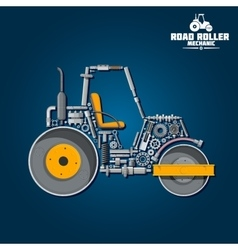 Road tandem roller icon with mechanical details vector image