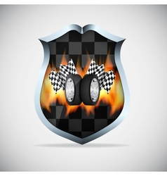 Shield with checkered flags vector image vector image