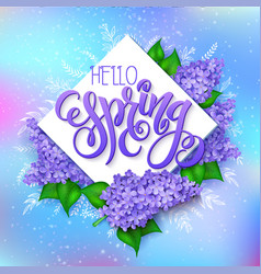 Spring hand lettering - hello spring lilac vector