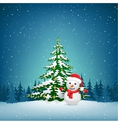 The Christmas snowman and spruce vector image vector image