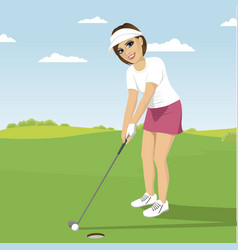 Young woman playing golf preparing to shot vector