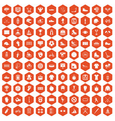 100 sport team icons hexagon orange vector