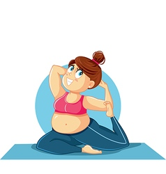 Plus size girl in yoga pose vector