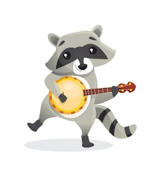 Musical animals racoon banjo vector
