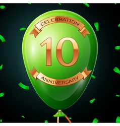Green balloon with golden inscription ten years vector
