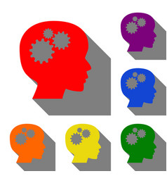 thinking head sign set of red orange yellow vector image