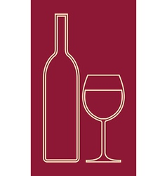 Glass of wine and bottle vector image