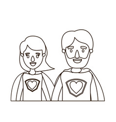 Sketch contour caricature half body couple parents vector