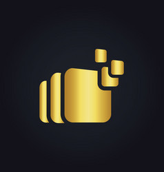 Square data gold logo vector