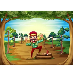 A cheerful lumberjack in the middle of the trees vector