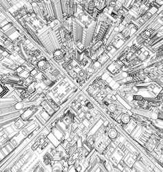 Futuristic city wireframe vector