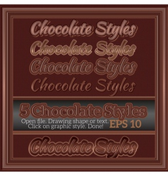 Set of various chocolate graphic styles for design vector