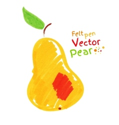 Yellow pear with leaf vector