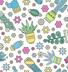 Cactus pattern vector
