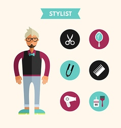 Flat design of stylist with icon set infographic vector