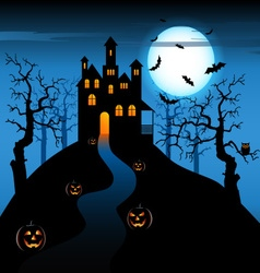 Halloween night with haunted castle and pumpkins vector