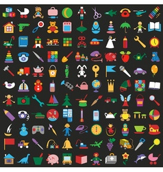 Toys colorful icons on black background vector image