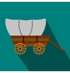 Western covered wagon flat icon vector