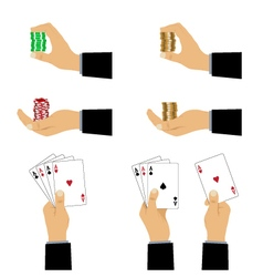 Hand with playing cards and chips vector