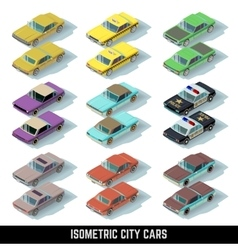 Isometric city cars icons in front and rear vector