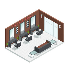 Barbershop salon isometric interior vector