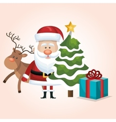 christmas santa claus reindeer tree and gift vector image vector image