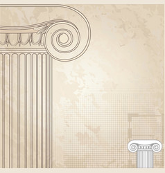 Classic columns background roman engraving vector