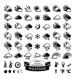 Collection of different weather icons vector image vector image
