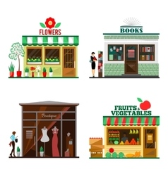 Cool set of detailed flat design city public vector image