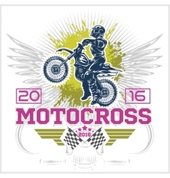 Extreme motocross Emblem t-shirt design vector image