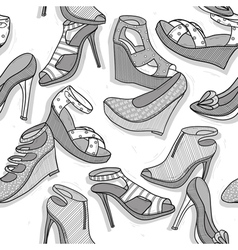 Fashion shoes seamless pattern for girls vector image