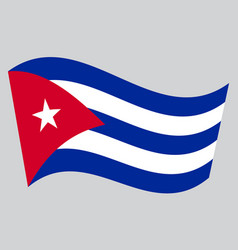 Flag of cuba waving on gray background vector