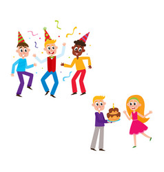 Friends dancing boy giving birthday cake to girl vector