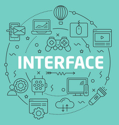 Green line flat circle interface vector
