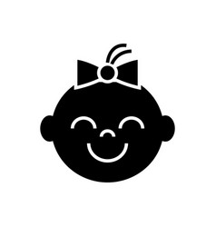 happy girl face icon black vector image vector image
