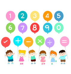 happy kids with numbers balloons vector image vector image