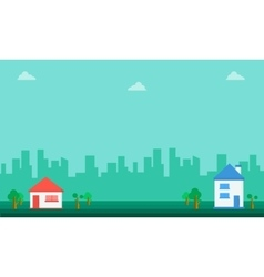 Landscape of house and tree flat vector