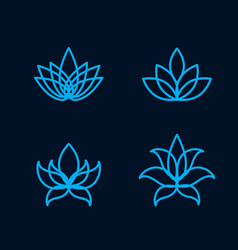 lotus flower icon set vector image