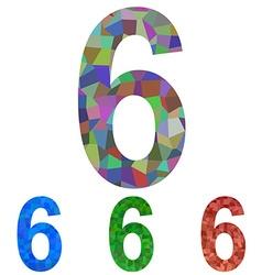 Mosaic font design set - number 6 vector
